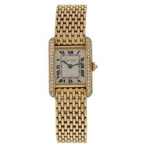 Cartier Tank Louis 18K Yellow Gold Factory Diamonds Box &...