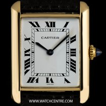 Cartier 18k Yellow Gold White Roman Dial Ladies Tank Louis