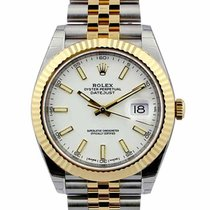 Rolex Datejust 41 White Dial Index Fluted Jubilee Links SS /...