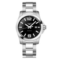 Longines Conquest Quartz Stainless Steel Black Dial Mens Watch...