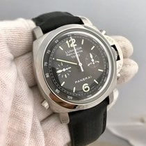 Panerai Rattrapante Pam213 Stainless Steel Leather Band Mens...