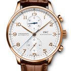 IWC PORTOGHESE CHRONOGRAPH Red Gold 18K Silver Dial IW371480