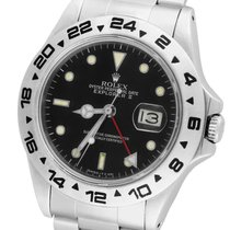 Rolex Explorer II 16550 Fat Font Stainless Black Date GMT Date