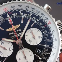 Breitling Men's Navitimer 01 Steel on Black Leather 43mm...