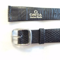 Omega 18mm black lizard bracelet strap original 14mm Omega buckle