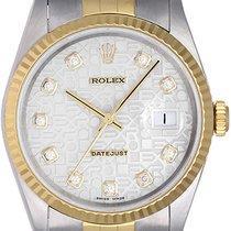 Rolex Datejust Steel Gold Men's Watch 16233 White Roman Dial