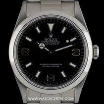 Rolex S/S O/P Rare Black Dial Blackout Explorer I B&P 14270