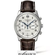 Longines Master Chronograph Silver Dial Brown Leather