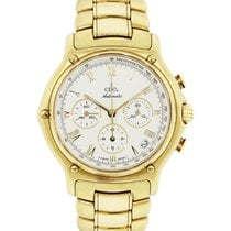 Ebel 1911 18k  Gold Cream Chronograph Roman Dial Watch
