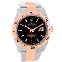 Rolex Datejust Turnograph Steel Rose Gold Black Dial Watch 116261