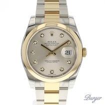 Rolex Datejust 36 Rolesor Gold/Steel Oyster Silver Diamonds