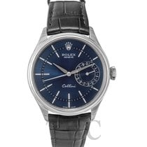 Rolex Cellini Date Blue 18k white gold/Leather Ø39mm - 50519