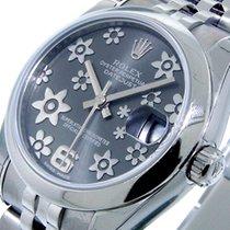 Rolex Datejust 178240 Mid Size 31 Mm Steel Dark Rhodium Floral...