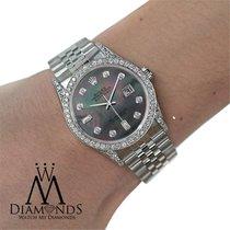 Rolex Diamond Rolex Datejust 36 Mm Black Dial Stainless Steel...