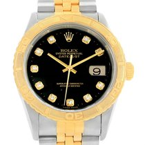 Rolex Datejust Turnograph Steel Yellow Gold Diamond Dial Watch...