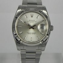 Rolex DATE 34MM WHITE GOLD BEZEL SILVER INDEX