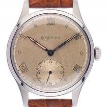Eterna Armbanduhr Stahl Handaufzug Armband Leder 36mm Vintage...