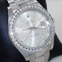 Rolex Datejust II 2.35ct Diamonds Bezel Silver Dial Stainless...