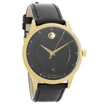 Movado 1881 Automatic Mens Black Leather Strap Swiss Watch...