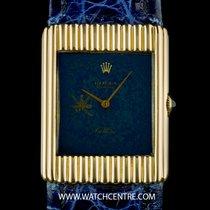 Rolex 18k Y/G Blue Omani Dial Crest Dial Cellini Gents Wristwatch