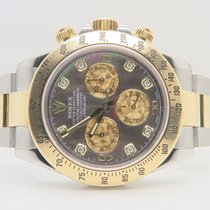 Rolex Daytona 18k Gold Steel Mother of Pearl Diamond Dial
