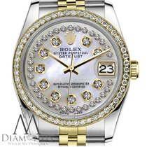 Rolex Womens Rolex 36mm Datejust 2 Tone White Mother Of Pearl...