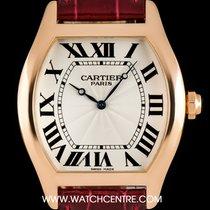 Cartier 18k Rose Gold Silver Roman Dial Tortue XL Gents...