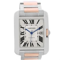 Cartier Tank Anglaise Xl Steel Rose Gold Automatic Mens Watch...