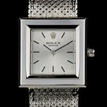 Rolex 18k White Gold Silver Dial Square Case Vintage Gents 9720