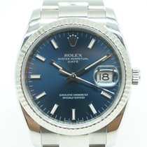 Rolex Oyster Perpetual Date 34 White Gold Bezel SS Blue Dial...