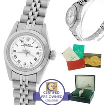 Rolex Oyster Perpetual White Roman 24mm 67180 Stainless Steel