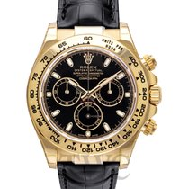 ロレックス (Rolex) Daytona Black 18k Yellow Gold/Black Leather 40mm...