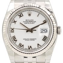 Rolex Datejust 36 116234-WHTRFJ White Roman Fluted White Gold...