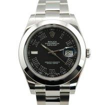 Rolex DateJust II 2 Stainless Steel Black Roman Dial-116300