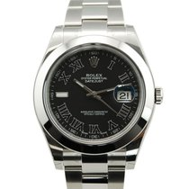 Rolex DateJust II 2 Stainless Steel Black Roman Dial-116300