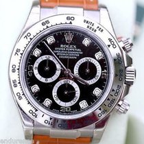 Rolex Daytona 18k White Gold Black Diamond Dial Tan Leather...