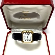 Cartier Ladies Watch 18k Yellow Gold W/ Black Leather Band In Box