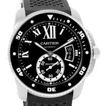 Cartier Calibre Divers Black Dial Rubber Strap Mens Watch...