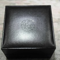 Versace watch box medusa logo black leather newoldstock complete
