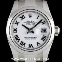 Rolex Stainless Steel O/P White Roman Dial Datejust Lds...