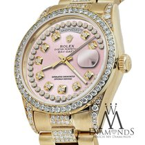 Rolex Presidential Day Date Pink String Dial Diamond Watch 18...