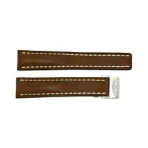 Breitling Brown Leather Watch Band Strap with White Stitching...