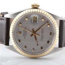 Rolex Mens 18K/SS Date - Silver Dial - Brown Strap - Quickset...