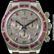 Rolex 116589 Daytona 18k White Gold Baguette Pink Sapphire...