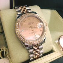 Rolex Datejust Jubilee Steel-Gold Rose Bezel Diamonds Dial Mother
