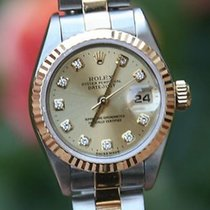 Rolex Ladies Datejust 69163 Factory Gold Diamond Dial Oyster...