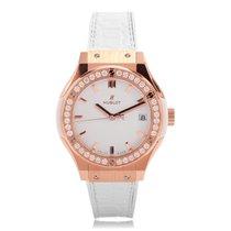 Hublot Classic Fusion Rose Gold Diamond Quartz Ladies Watch...