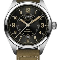 Hamilton Khaki Field Day Date Automatic Black Dial Leather...