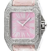 Cartier Santos 100 Midi Diamond Set Pink Dial and Leather...