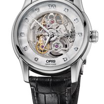 Oris Artelier Skeleton Diamonds Crocodile Leather Bracelet